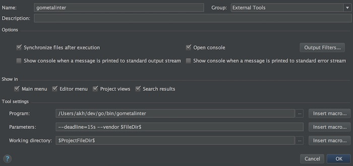 gometalinter setup for jetbrains